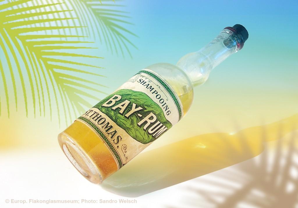 """Haarwäsche-Flakon """"Shampooing Bay-Rum""""®; unbekannter Hersteller, St. Thomas/ Dänisch-Westindien, vermutlich vor 1900"""