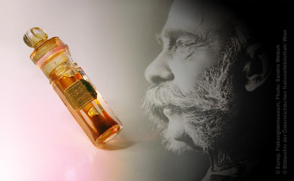 """Miniatur-Flakon """"Rose""""®; Parfumerie- und Toiletten-Seifenfabrik Franz Prochaska®, Prag/ Kronland Königreich Böhmen, um 1900"""
