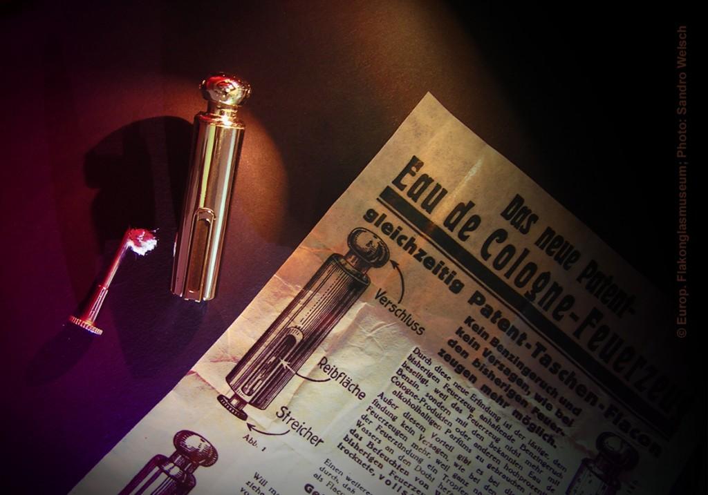 "Taschen-Flakon-Feuerzeug ""Patent-Eau de Cologne-Feuerzeug""®; Voss-Industrie GmbH Metallwaren-Fabrik®, Berlin/ Weimarer Republik, 1920er Jahre"